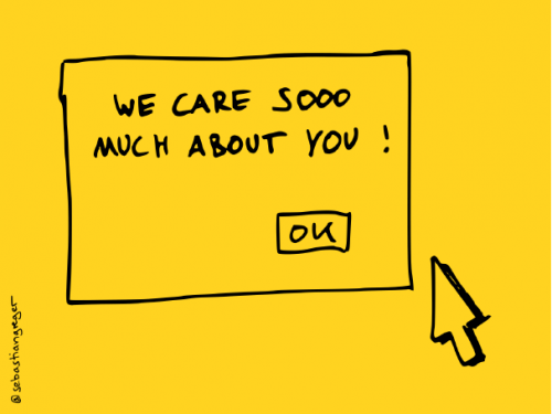 drawing: a pop-up with text 'we care sooo much about you' and an 'ok' button