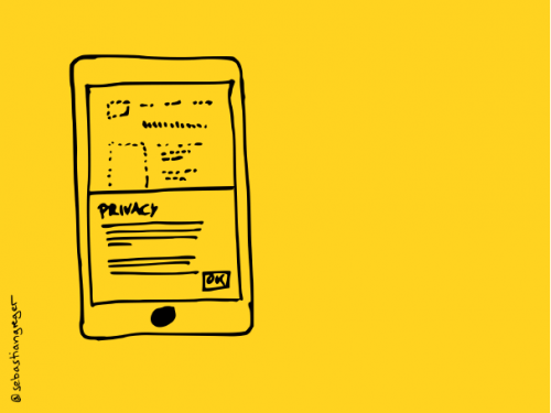 drawing: a mobile phone on which the content is barely visible under a cookie consent banner