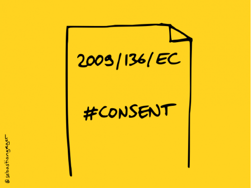"""drawing: a sheet of paper with the title """"2009/136/EC"""" and hashtag """"#consent"""""""
