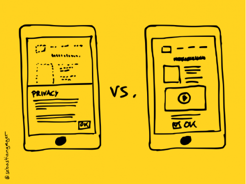two hand-drawn mobile phone screens: on the left the conventional cookie banner, on the right a consent dialogue embedded in the context