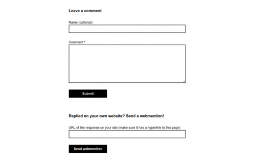 Screenshot of the comment form.