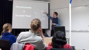 Sebastian Greger, presenting research at Aalto Media Lab Helsinki in 2010